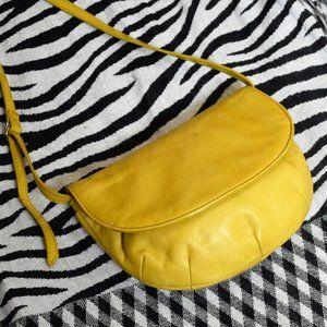 Bright Yellow Leather HOBO Mini Bag Long Strap